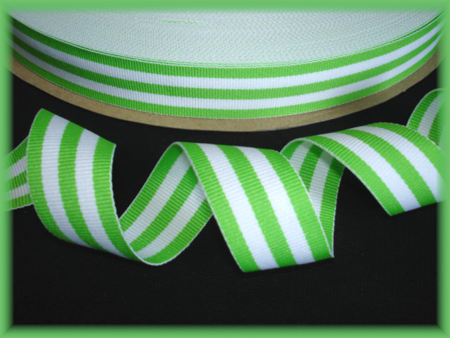 7/8 OOAK LIME WHITE TAFFY STRIPE - 7+ REMNANT YARDS