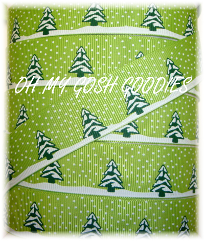 7/8 SNOW TREES LIME - 5 YARDS