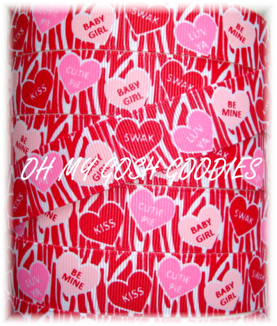 * 100 YARD ROLL SALE * 7/8  FUNKY VALENTINE CONVERSATION HEARTS RED ZEBRA