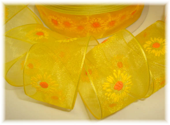 1.5 OOAK SHEER WIRED YELLOW DAISY FLOWERS -3 YARDS