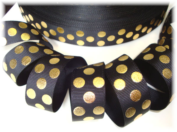 7/8 OOAK  BLACK GOLD METALLIC DOTS - 4 YARDS