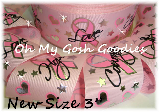 "3"" CANCER AWARENESS BLING PINK - 5 YARDS"