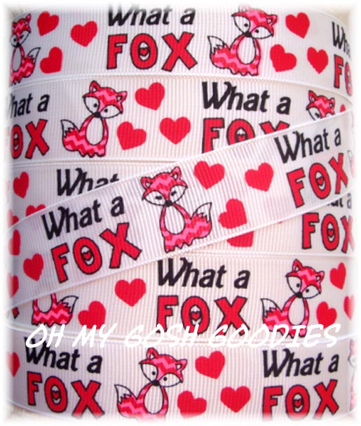 * 100 YARD ROLL SALE * 7/8 WHAT A FOX VALENTINE - 5 YARDS
