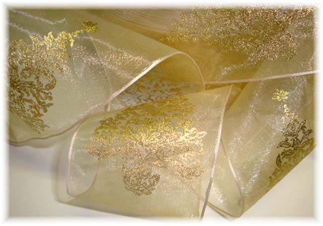 2 1/2 GOLD EMBOSSED CHRISTMAS TREE SHEER WIRED RIBBON - 5 YARDS