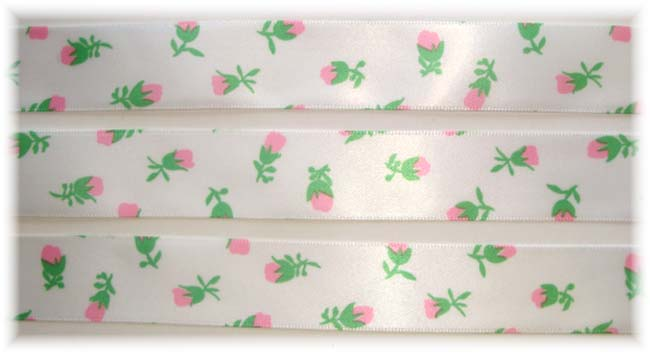 7/8 OOAK * LIGHT * PINK ROSEBUD FLOWERS SATIN VENUS - 5 YARDS