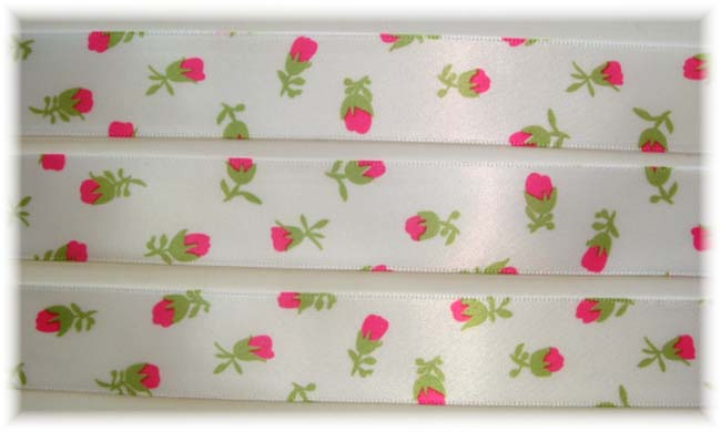 7/8 OOAK * HOT * PINK ROSEBUD FLOWERS SATIN VENUS - 5 YARDS