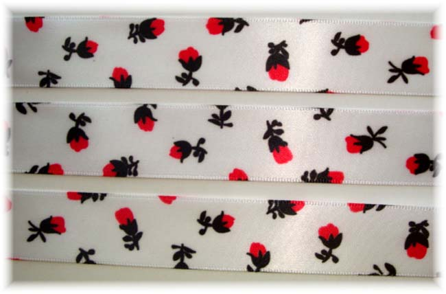 7/8 OOAK RED BLACK ROSEBUD FLOWERS SATIN VENUS - 5 YARDS