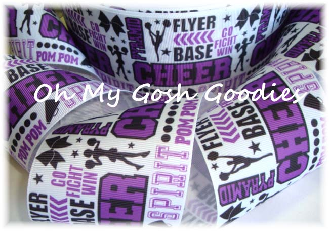 "3"" CHEER * WORDS *  PURPLE - BLACK - 5 YARDS"