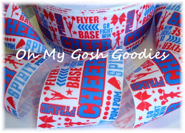 "3"" CHEER * WORDS *  RED - ROYAL - 5 YARDS"