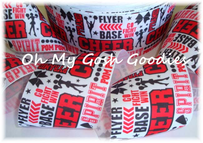 "3"" CHEER * WORDS *  RED - BLACK - 5 YARDS"