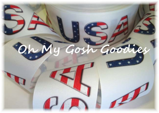 "3"" * USA * PATRIOTIC CHEER RIBBON - 5 YARDS"