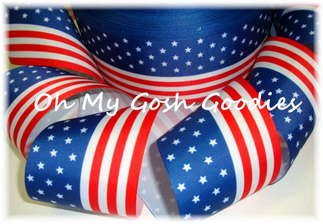 "3"" * FLAG *  PATRIOTIC CHEER RIBBON - 5 YARDS"