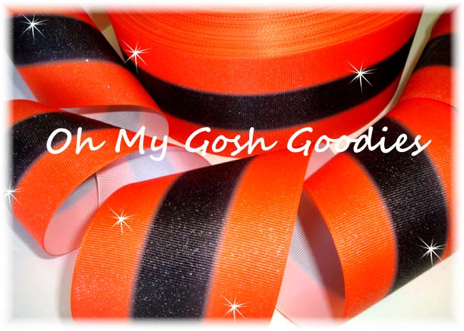 "3"" GLITTER DOUBLE OMBRE ORANGE BLACK CHEER - 5 YARDS"