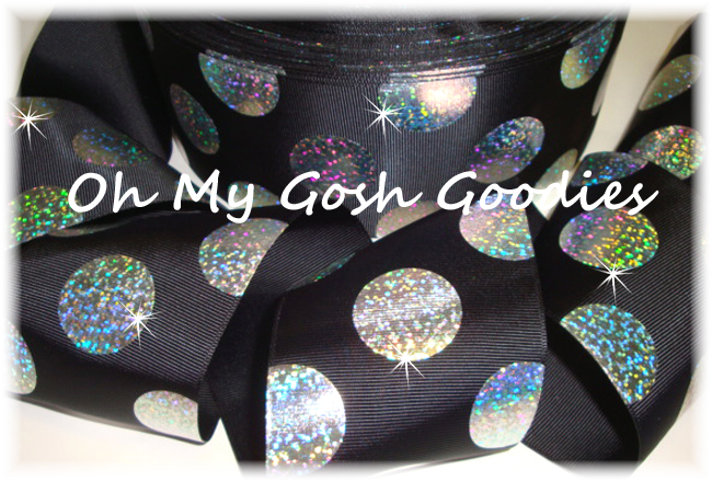 "3"" SUPER DOTS SILVER HOLOGRAM BLACK  - 5 YARDS"
