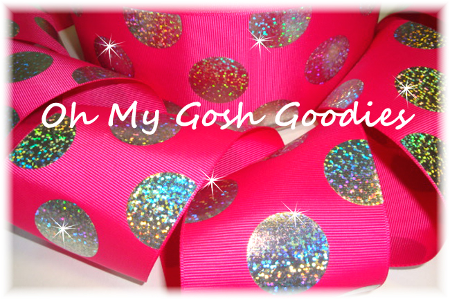"3"" SUPER DOTS SILVER HOLOGRAM SHOCKING PINK - 5 YARDS"