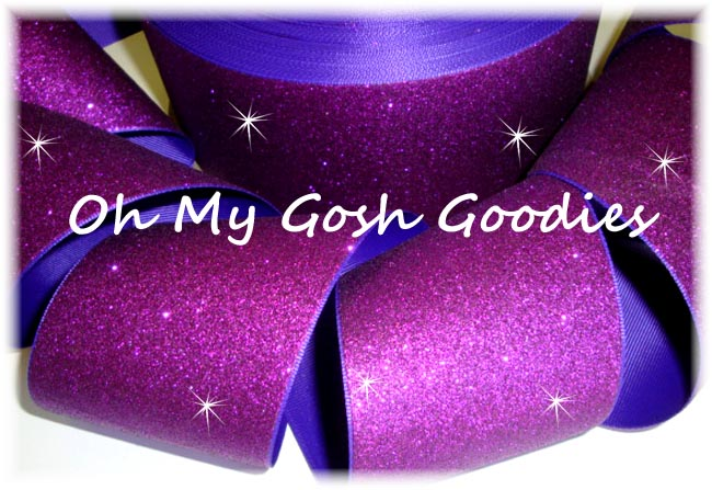 "3"" * SUPER SPARKLE * GLITTER SOLID CHEER PURPLE - 5 YARDS"