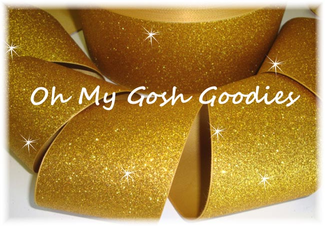 "3"" OOAK * SUPER SPARKLE * GLITTER SOLID CHEER GOLD - 1 1/2 YARDS"