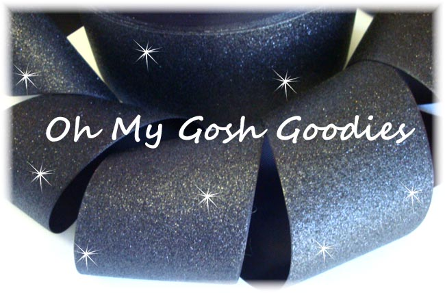"3"" OOAK * SUPER SPARKLE * GLITTER SOLID CHEER BLACK - 2 2/3 YARDS"