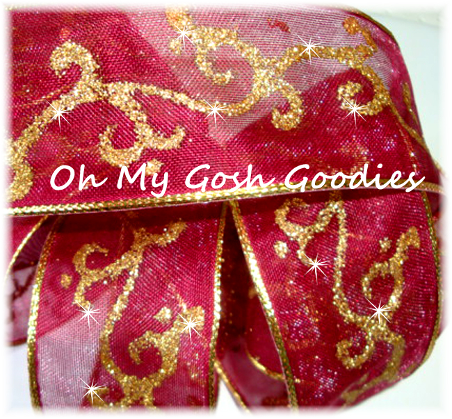 1.5 GOLD GLITTER SWIRLS WIRED MAROON - 5 YARDS