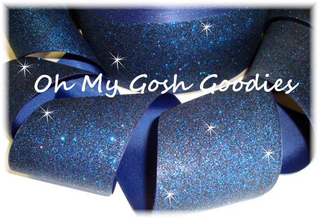 "3"" OOAK * SUPER SPARKLE * GLITTER SOLID CHEER NAVY  - 4 YARDS"