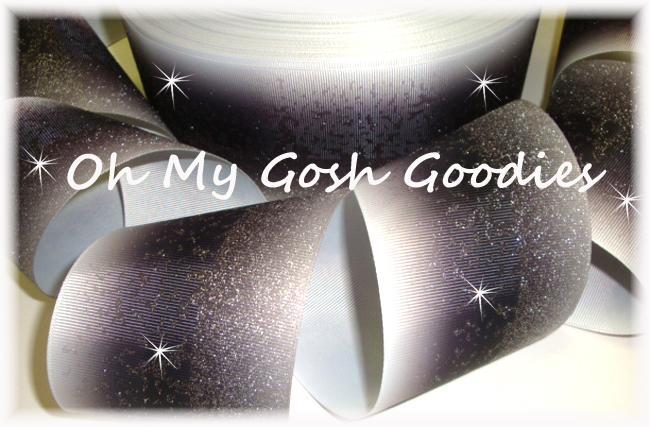 """3"""" OOAK * FROSTED * GLITTER BLACK OMBRE CHEER - 4 YARDS"""