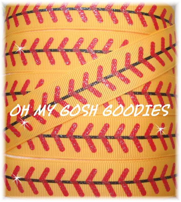 7/8 RED GLITTER STITCH SOFTBALL YELLOW- 5 YARDS
