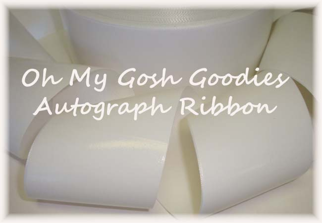 "3"" OOAK AUTOGRAPH WHITE VINYL CHEER RIBBON - 1 3/4 YARDS"