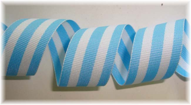 7/8 BLUE TAFFY REVERSIBLE STRIPE - 5  YARDS