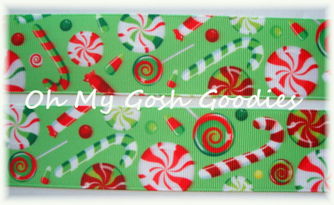 "1.5"" OOAK * LIME *  PEPPERMINT CANDY CANE CANDIES - 4 YARDS"