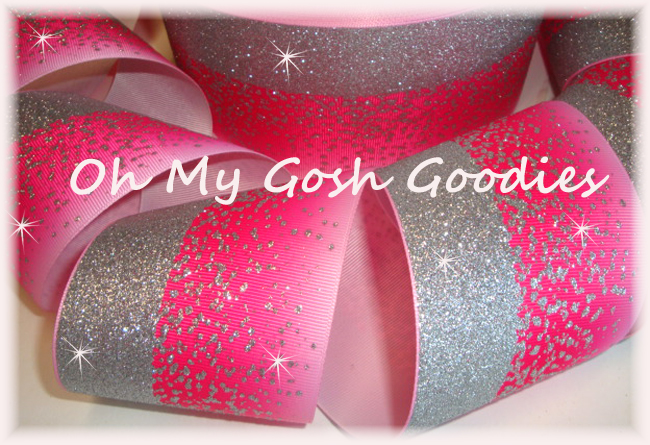 """3"""" OOAK * DOUBLE * FROSTED GLITTER SHOCKING PINK OMBRE CHEER - 1 3/4 YARDS"""