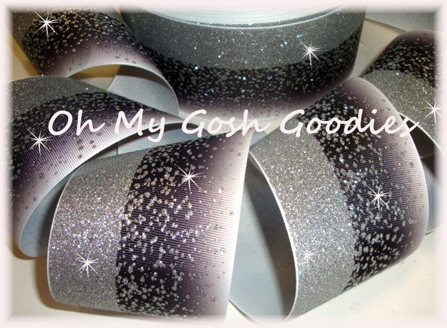 "3"" OOAK * DOUBLE * FROSTED GLITTER BLACK OMBRE CHEER - 2 2/3 YARDS"