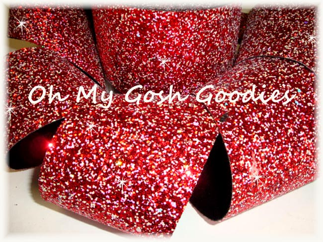 """3"""" OOAK * CHUNKY * GLITTER SPARKLE RED - 3 1/4 YARDS"""
