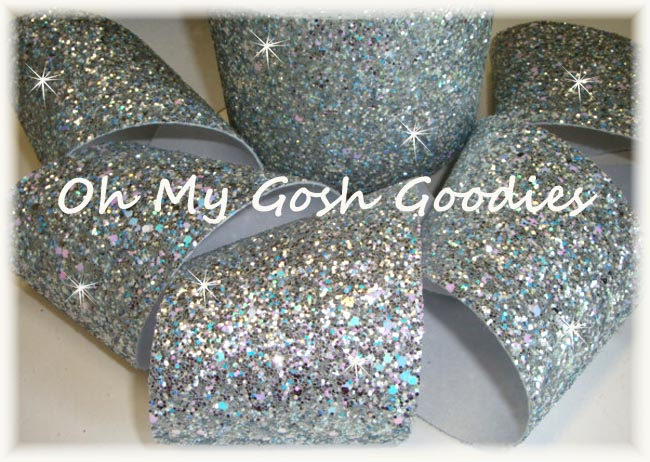 "3"" OOAK  * CHUNKY * GLITTER SPARKLE SILVER - 3 3/4  YARDS"