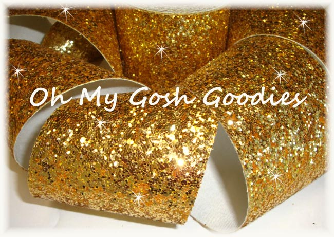 "3"" OOAK * CHUNKY * GLITTER SPARKLE GOLD - 1 3/4 YARDS"