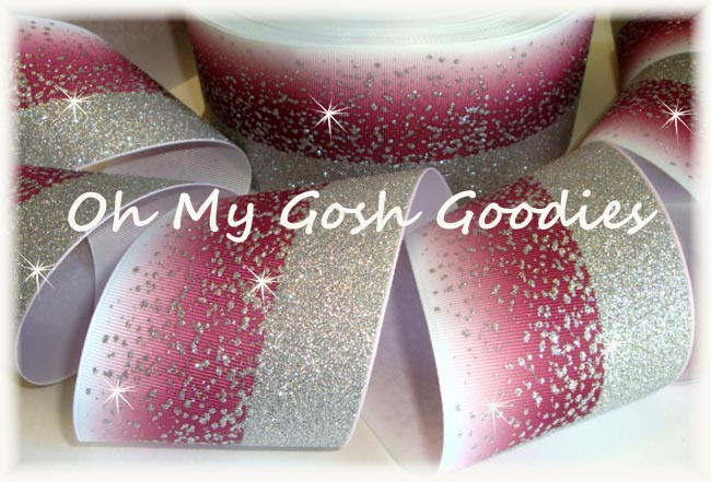 """3"""" OOAK * DOUBLE * FROSTED GLITTER MAROON OMBRE CHEER - 1 2/3 YARDS"""