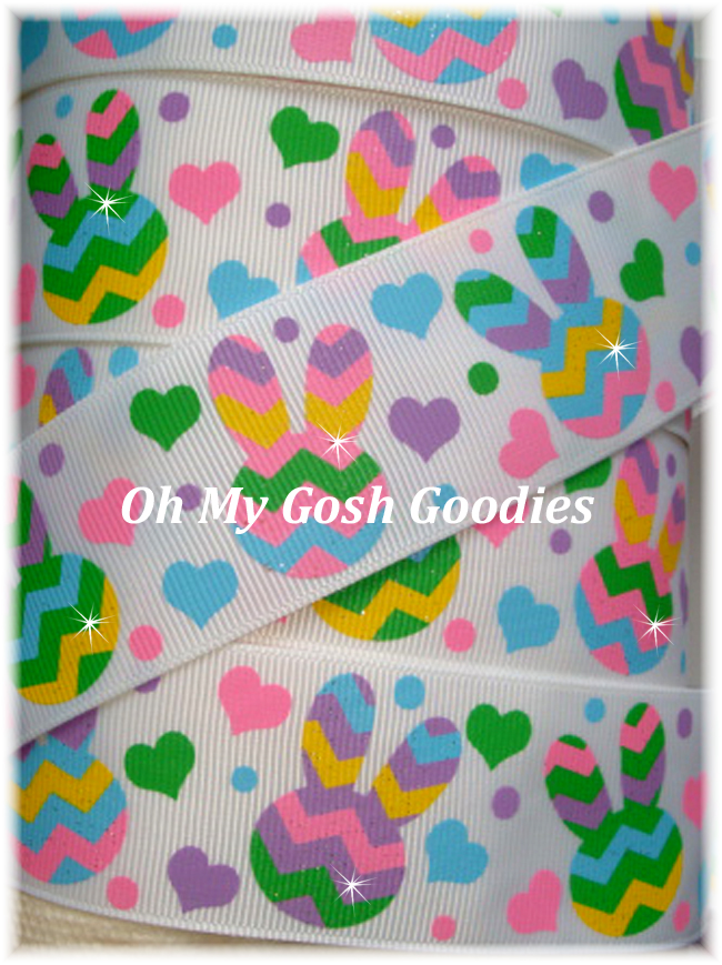 1.5 GLITTER MULTI CHEVRON BUNNY LOVE - 5 YARDS