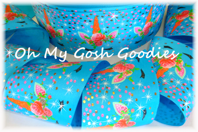 "3"" OOAK * GLITTER GLITZ * UNICORNS TURQUOISE - 4 YARDS"