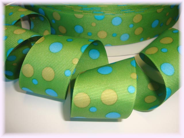 1.5 LIME YELLOW BLUE DOT - 5 YARDS