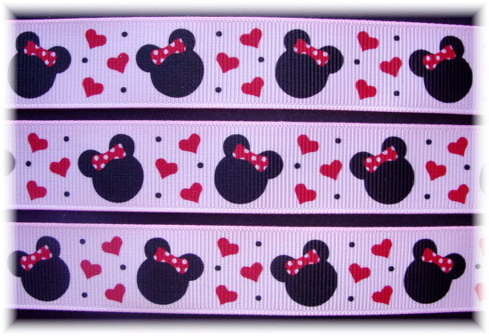 7/8 PINK RED HEART MINNIE - 5 YARDS