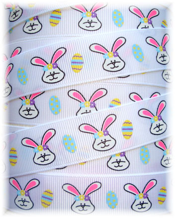 7/8 SALE HIP HOP EASTER BUNNIES WHITE -  5  YARDS
