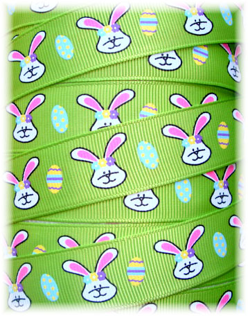 7/8 SALE HIP HOP EASTER BUNNIES LIME - 5  YARDS