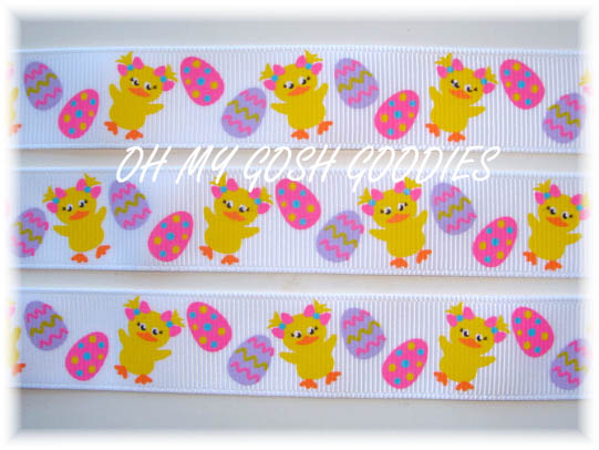 7/8 LUCKY DUCK EASTER RIBBON - 5 YARDS