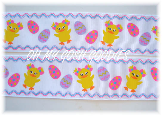 1.5 LUCKY DUCK EASTER RIBBON - 5 YARDS