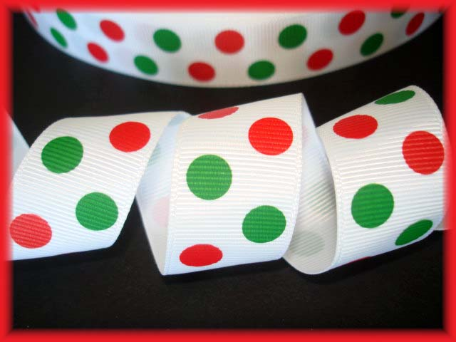 7/8 RED GREEN DITZY DOTS -  5 YARDS