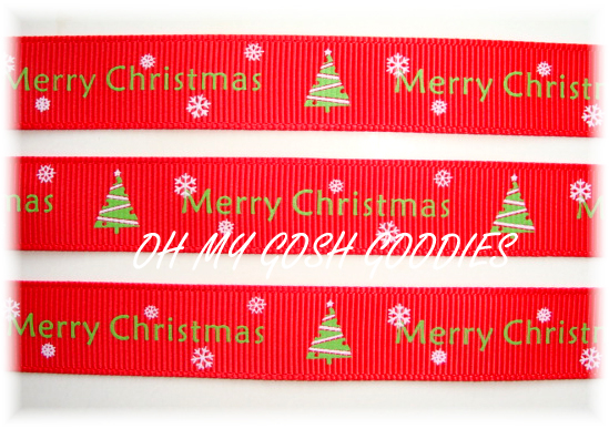5/8 MERRY CHRISTMAS TREES RED LIME - 5 YARDS