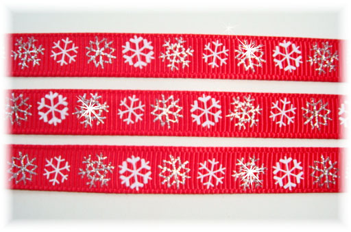 3/8 RED SNOWFLAKE SPARKLE - 5 YARDS