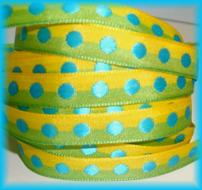 3/8 OOAK LIME YELLOW TURQUOISE DOTS -  40 YARD ROLL
