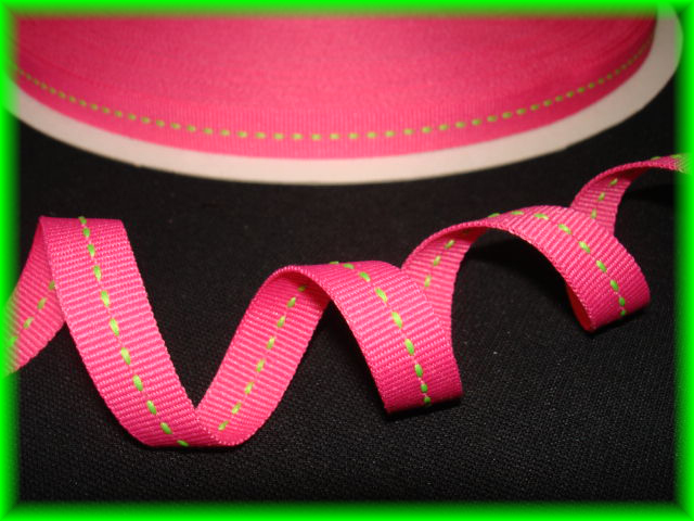 3/8 HOT PINK LIME STITCH - 5 YARDS
