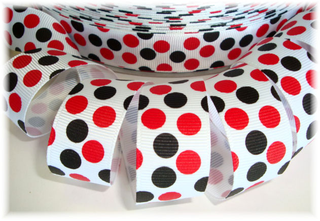 7/8 WHITE RED BLACK JUMBO DOTS - 5 YARDS