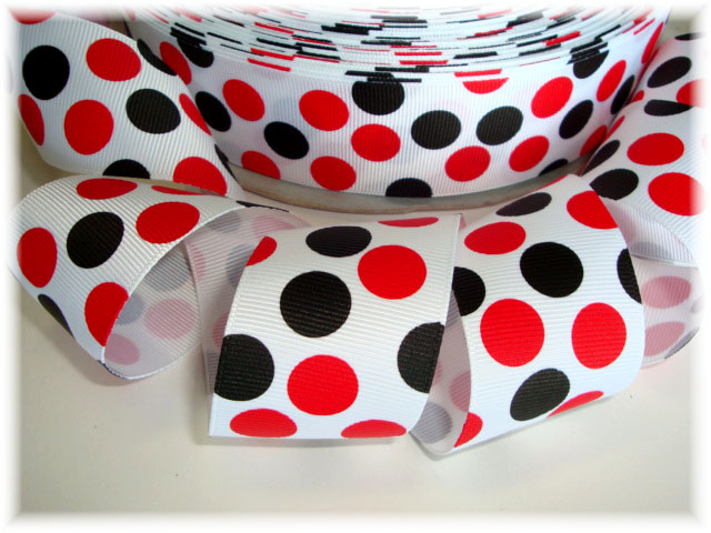 1.5 WHITE RED BLACK JUMBO DOTS - 5 YARDS